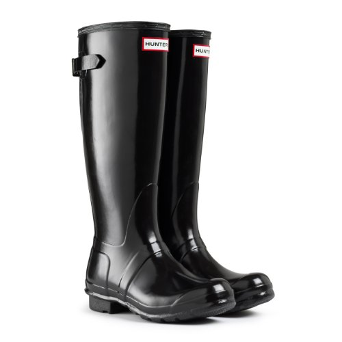 Womens Hunter Original Adjustable Back Gloss Rain Snow Wellington Boot - Black - 9