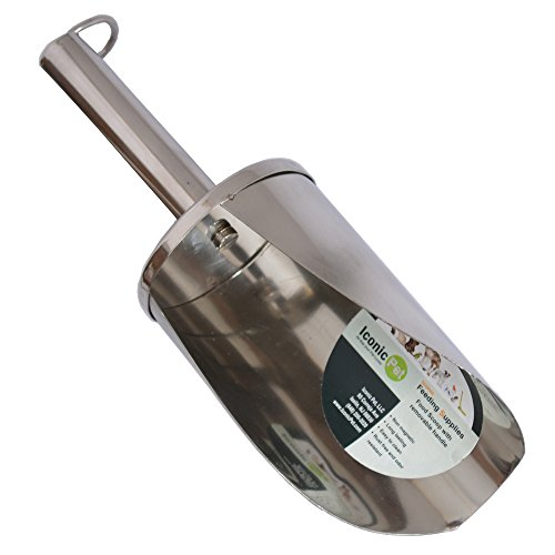 Iconic Pet 1-Cup Stainless Steel Pet Food Scoop with Removable Handle, Small/6-Inch
