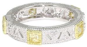"Judith Ripka ""Estate"" Square Stones Band Yellow Ring, Size 6"