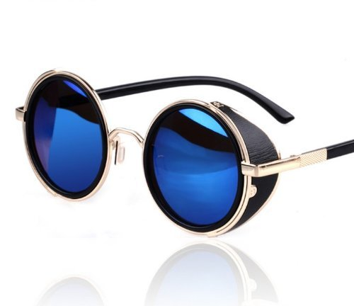 Hot Steampunk Retro Style 50s Silver & Black Frame Round Blue Mirror Lens Glasses Blinder Beach Sunglasses (Glasses Steam compare prices)