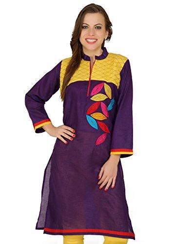 Cenizas Silk Women's Straight Kurtas (KURTIS/2047/PRPL/M_Purple_M)
