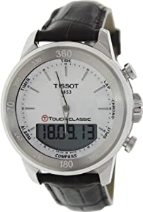 Tissot Men's T-Touch Classic T083.420.16.011.00 Brown Leather Swiss Quartz Watch with White Dial