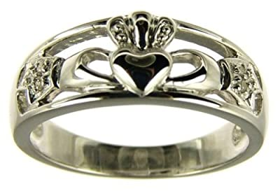 Kareco 9ct White Gold Diamond Set Celtic Claddagh Ring
