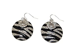 Zebra Print Drop Disk Earrings with Shiny Crystals (in a Gift Pouch)