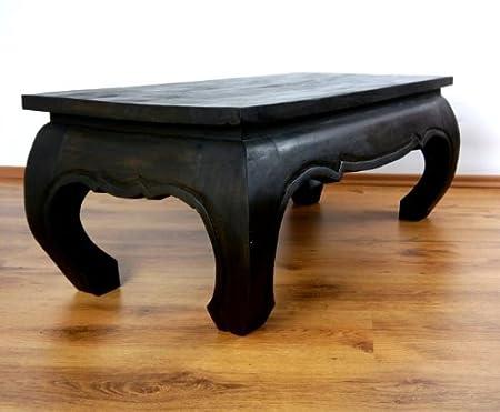 Großer Opiumtisch in schwarz. 100 x 50 x 40cm. Beistelltisch bzw. Couchtisch aus Massivholz. Kolonialstil, Möbel asiatisch