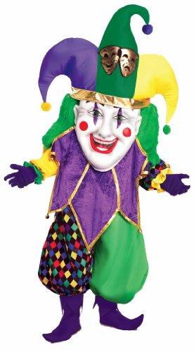 Forum Parade Pleasers Oversized Mardi Gras Jester Costume, Green/Gold/Purple, Adult
