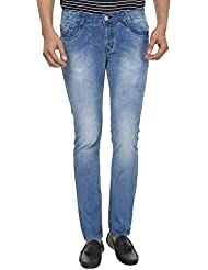 Fever Men's Light Blue Plain Slim Fit Jeans