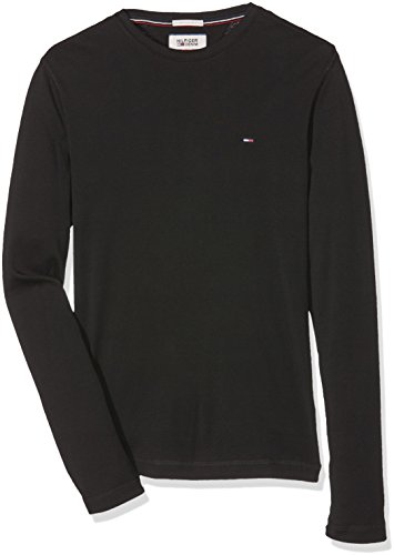 Tommy Hilfiger T- Shirt Original 1X1 Rib Cn Knit L/S, Men's, Nero (Tommy Black 078), Small (Taglia Produttore:Sm)