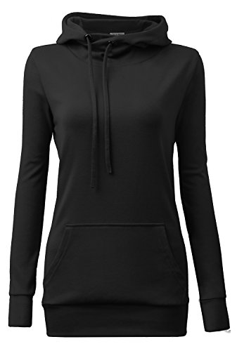 Women Hoodies,YaYa Bay Womens Long Sleeve String Pullover Funnel Neck Kangaroo Pouch Pocket Vintage Corn Tunic Sweater Hoodie X Large Black (Cowl Hoodie compare prices)