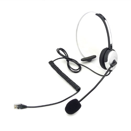 Hands-Free Call Center Headset Headphones Ear Phone Desk Telephone With Comfort Fit Headband Noice Cancelling - Silver