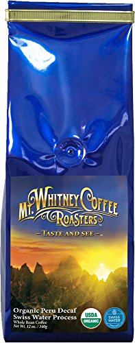 Mt. Whitney Coffee Roasters: 12 Oz. Usda Organic Peru Swiss Water Process Decaf, Medium Roast, Whole Bean Coffee, Nitrogen Packed For Freshness