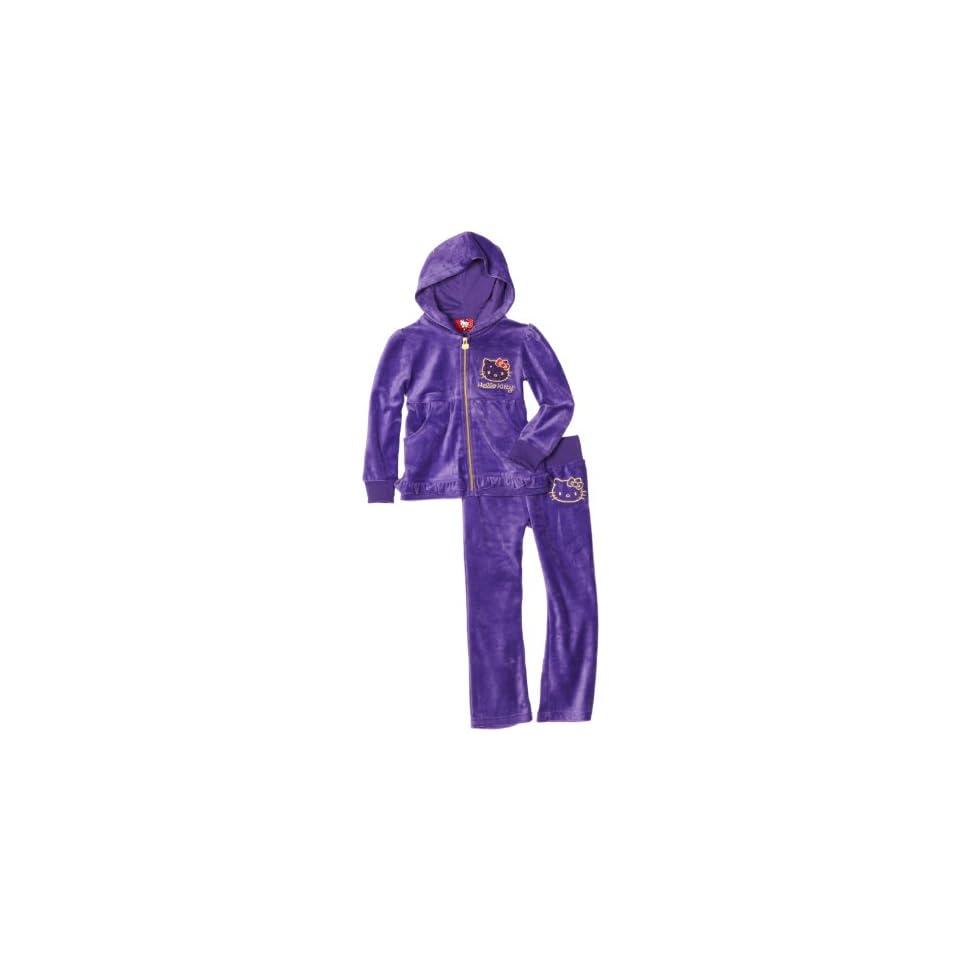 Hello Kitty Girls 7 16 Mini Sequins On Velour Active Set, Purple, 12