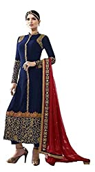 Charming Blue Colored Embroidered Straight Suit