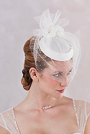 chapeau bibi de mariage style r tro avec voilette pour femme cru unique. Black Bedroom Furniture Sets. Home Design Ideas