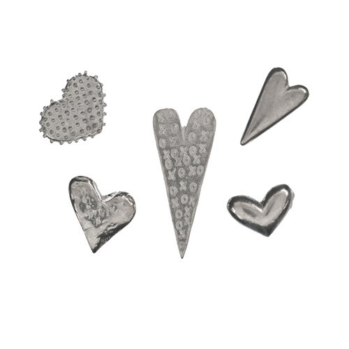 Bag of Assorted Pewter Heart Charms