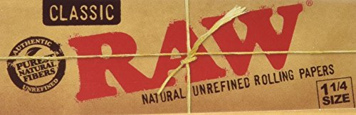 Raw Unbleached Classic 1.25 Size Cigarette Rolling Papers, 4 Packs