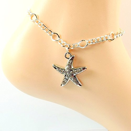 [Silver-plated Rhinestone Starfish Anklet - Ocean Lovers Collection - Ankle Bracelet] (Easy Starfish Costume)