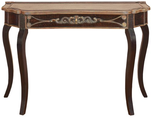 Cheap Brown Wood And Leather Console Table 33″H x 49″W New (WLI-22918)