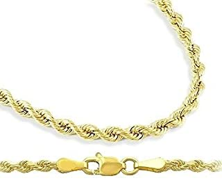 Mens Womens 14k Yellow Gold Necklace Hollow Rope Chain 1.5mm , 18 inch