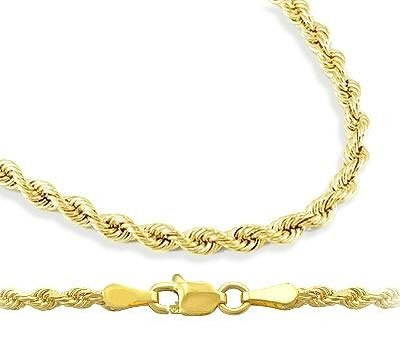Mens Womens 14k Yellow Gold Chain Hollow Rope Necklace 2mm , 16 inch: Jewel Tie: Jewelry