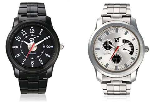 RICO SORDI Mens 2 Stainless Steel Watches in Black and Silver Straps_RSD56_S2_SS