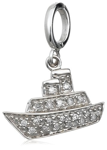 Sterling Silver Diamond Ship Charm (1/10 cttw)