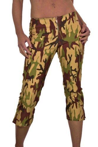 (1340), Magro 3/4 Crop capri donna esercito militare sguardo Camouflage (42)