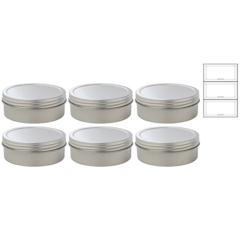 4 oz Metal Steel Tin Flat Container with Tight Sealed Twist Screwtop Cover (6 pack) + Labels (Metal Sealed Container compare prices)