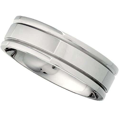 Titanium, Grooved Polished Wedding Band (sz 9)