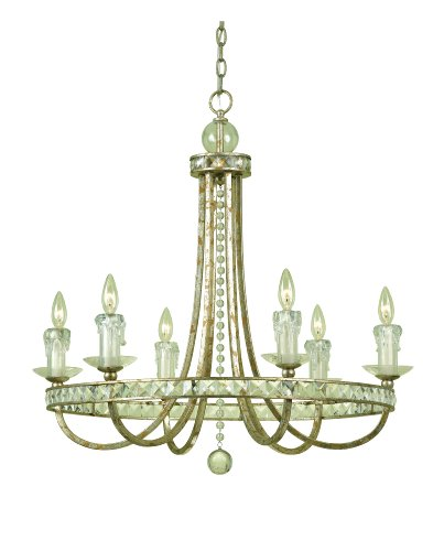 B001EX6QEG Candice Olson Aristocrat 6 x 60-Watt Light Chandelier, Soft Gold with Crystal Prisms and Faux Glass Candle Drips