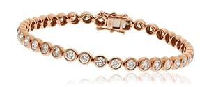 3CT Certified G/VS2 Round Brilliant Cut Rubover Diamond Tennis Bracelet in 18K Rose Gold