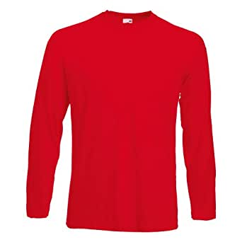Fruit of the Loom Longsleeve Langarm T-Shirt in 7 Farben und 5 Grössen Rot,XXL