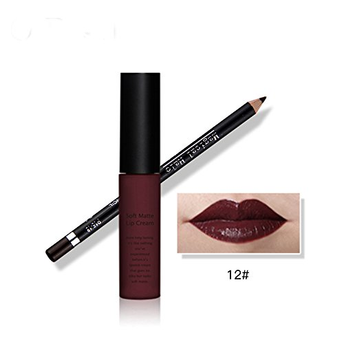 Tmalltide Waterproof Makeup Matte Liquid Lipstick Lip Gloss and Lip Liner Set (Bundle of 2 Items)- Perfect Pairings Collection (Mac Liner Teddy compare prices)