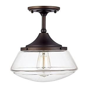 Capital Lighting 3533BB-134 One Light Semi-Flush Mount, Burnished Bronze Finish with Clear Glass