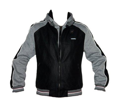 Cabaneli Milano Herren Leder Jacke Lederjacke mit Kapuze schwarz/grau Größe XL
