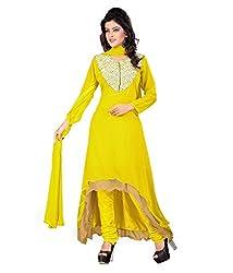 Priyanshu Creation Women's Georgette Yellow Dress Material
