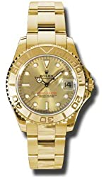 Rolex Yacht-Master Automatic Champagne Dial 18kt Yellow Gold Ladies Watch168628CSO