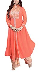 Sara Fashion Women's Georgette Unstitched Dress Material (Orange)