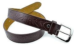 Moda Di Raza- Men's Floral Patterned Leather Belt - Brown/M