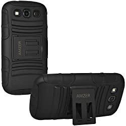 Amzer 96683 Hybrid Kickstand Case for Samsung Galaxy S3 Neo and S III GT-I9300 (Black)