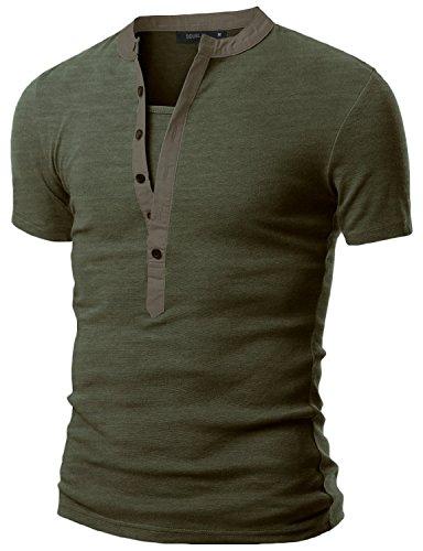 Doublju Mens Henley T-shirts with Short Sleeve KHAKI (US-L)