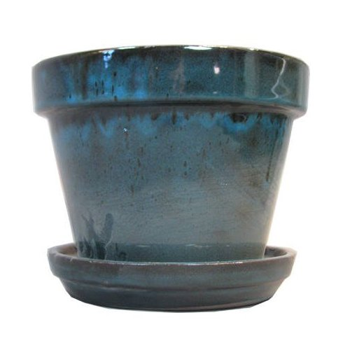 Border Concepts 11931 Standard Pot with Attached Saucer, 4-3/8-Inch, Tropical Blue (Planter Pots Indoor compare prices)