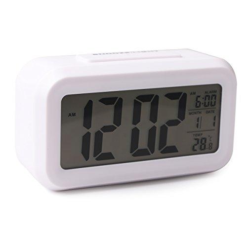 (デライジ) Delidge デジタル 目覚まし時計 置き時計 スヌーズ スマート ソフトライト プログレッシブアラーム バッテリ駆動 簡単な設定 温度表示