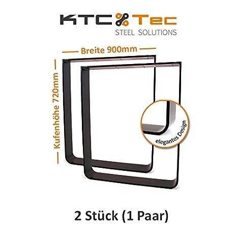 Tavolo con struttura in acciaio grezzo tgf100s base tavolo kufe pattini struttura rotondo profilo curvo nero opaco 100X 10, Breite 900 mm - 1 Paar (2 Rahmen)