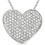 Sterling Silver 1/2ct TDW Diamond Heart Necklace (J-K, I3)