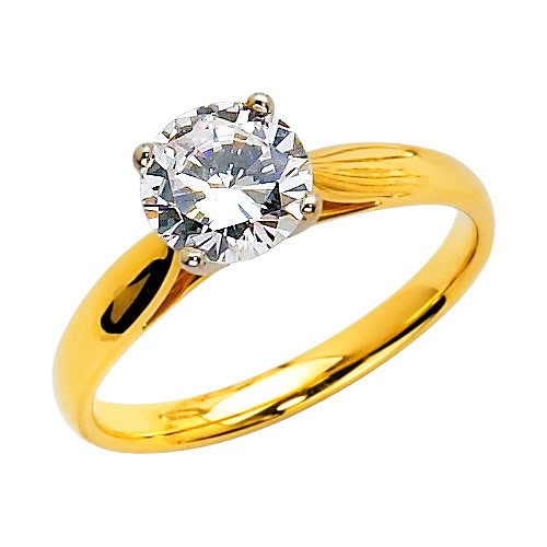 14K Yellow Gold Round Solitaire CZ Cubic Zirconia Wedding Engagement Ring Band