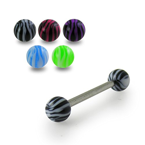 14Gx5/8 (1.6x16MM) 316L Surgical Steel Straight Barbell with 5MM UV Zebra Ball Tongue Piercing Rings - 10 Pieces Assorted Color as Show