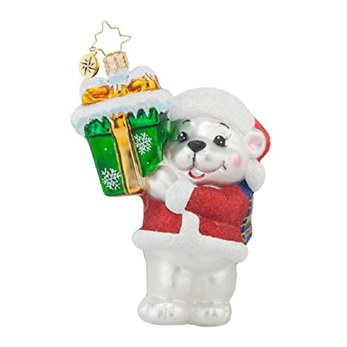 Christopher Radko Glass Arctic Delivery Polar Bear Christmas Ornament #1017737