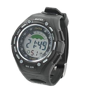Man Round Dial Case Adjustable Band Stopwatch Alarm Clock Sport Watch Black