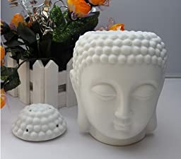 Glomarts Buddha Head Candle ceramic aromatherapy furnace- Essential Oil Burner-Candle Aroma Lamp For Home Decoration-With One Free Smokeless Candle (white)
